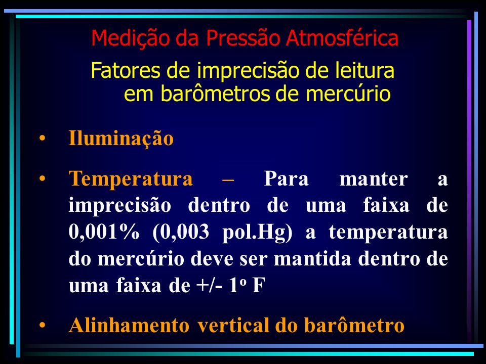 Alinhamento vertical do barômetro