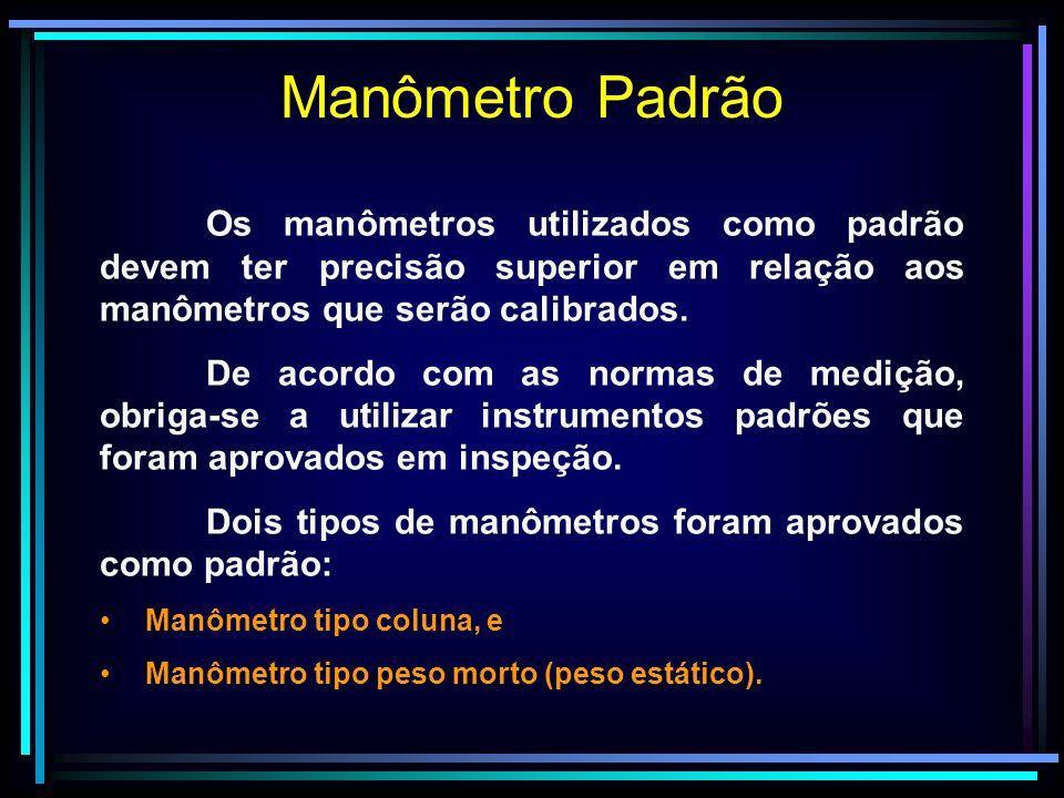 Manômetro Padrão Os manômetros utilizados como padrão devem ter precisão superior em relação aos manômetros que serão calibrados.
