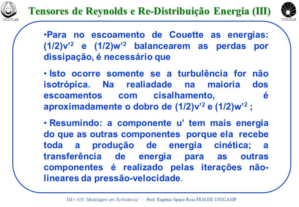 Tensores de Reynolds e Re-Distribuição Energia (III)