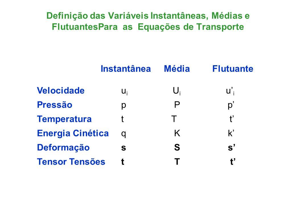Definição das Variáveis Instantâneas, Médias e FlutuantesPara as Equações de Transporte