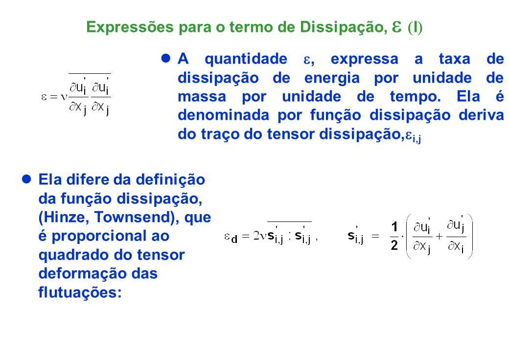 Expressões para o termo de Dissipação, e (I)