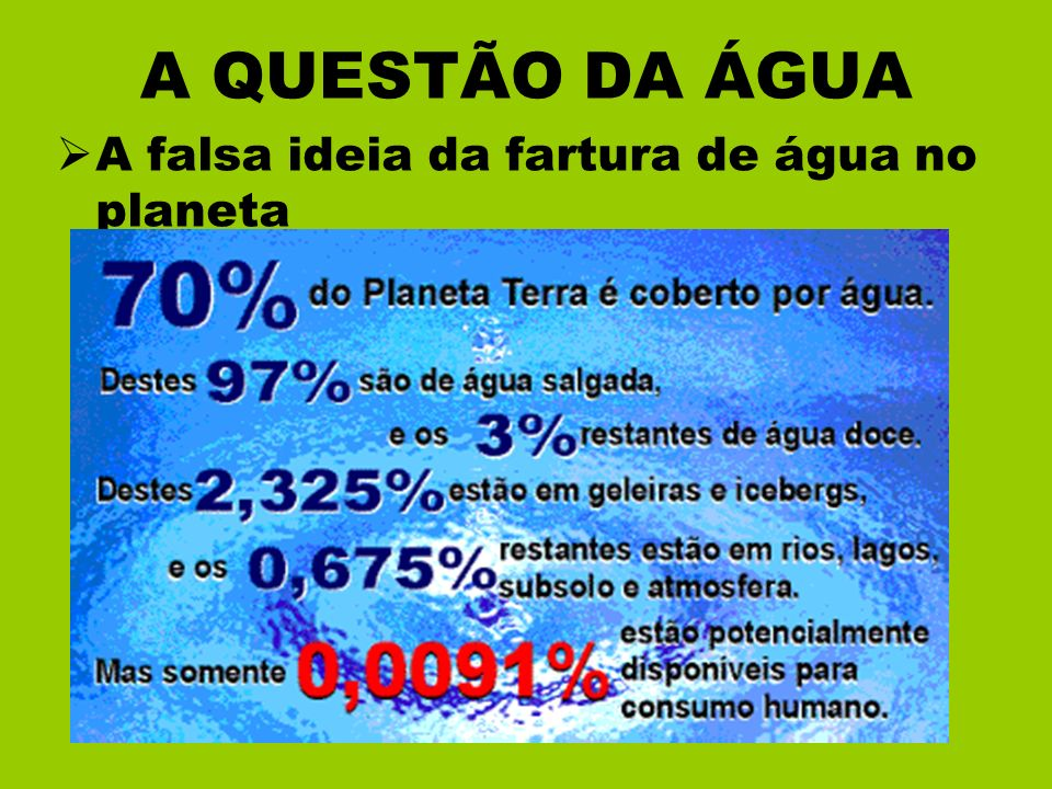 A QUESTÃO DA ÁGUA A falsa ideia da fartura de água no planeta