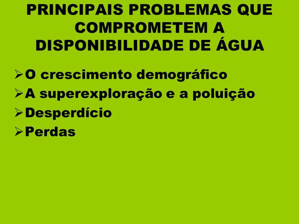 PRINCIPAIS PROBLEMAS QUE COMPROMETEM A DISPONIBILIDADE DE ÁGUA