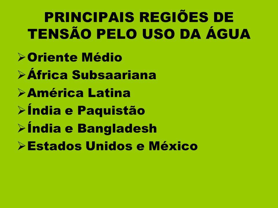 PRINCIPAIS REGIÕES DE TENSÃO PELO USO DA ÁGUA