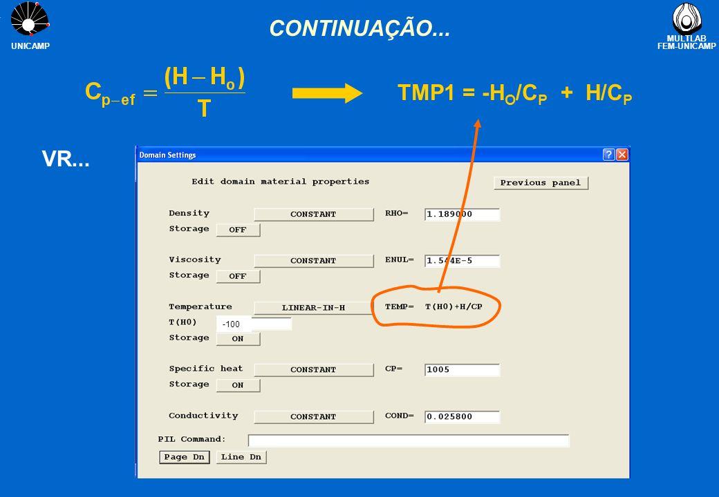 CONTINUAÇÃO... TMP1 = -HO/CP + H/CP VR... -100