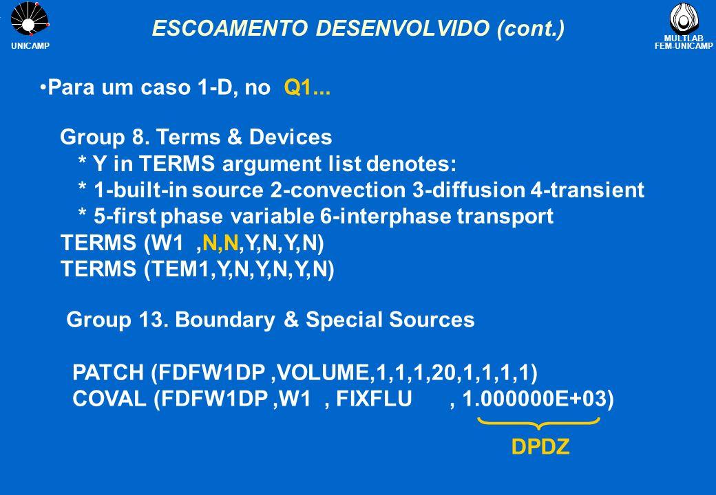 ESCOAMENTO DESENVOLVIDO (cont.)