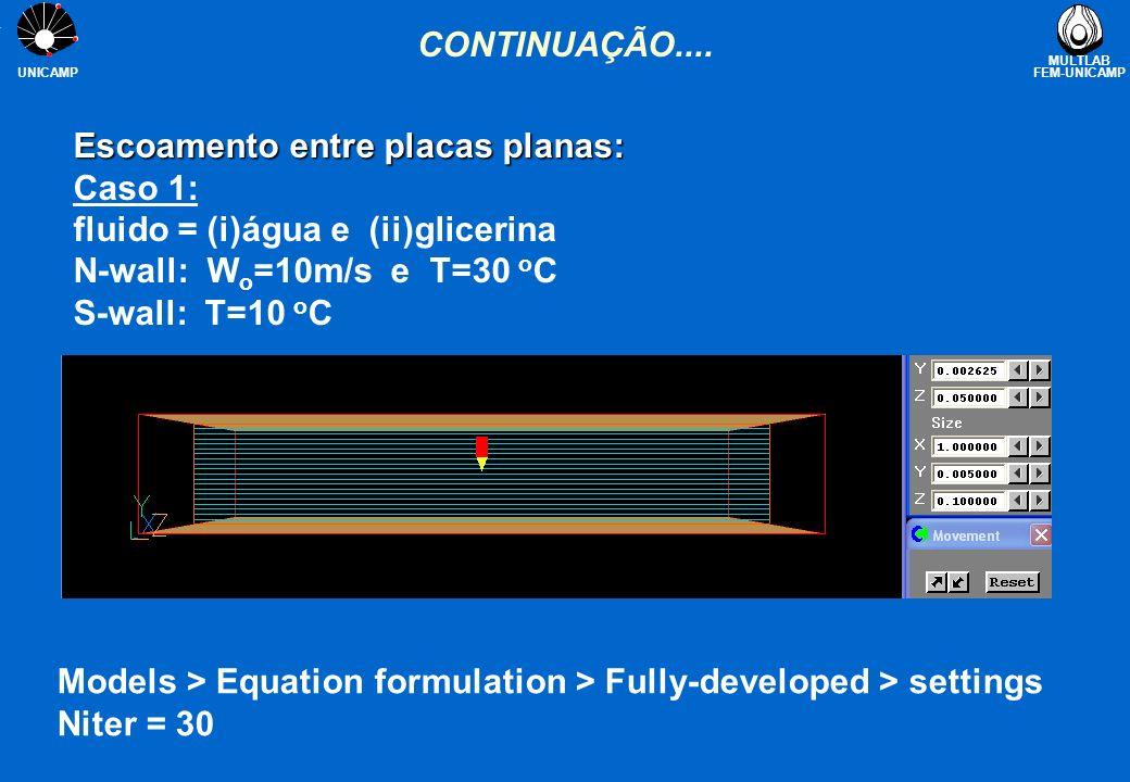 CONTINUAÇÃO.... Escoamento entre placas planas: Caso 1: fluido = (i)água e (ii)glicerina. N-wall: Wo=10m/s e T=30 oC.