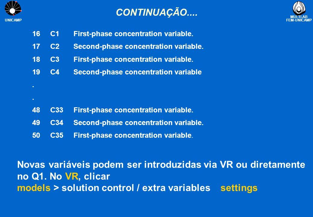 Novas variáveis podem ser introduzidas via VR ou diretamente