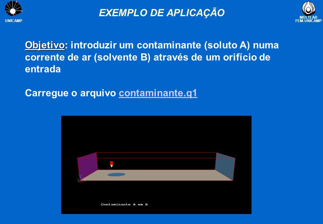 EXEMPLO DE APLICAÇÃO Objetivo: introduzir um contaminante (soluto A) numa corrente de ar (solvente B) através de um orifício de entrada.