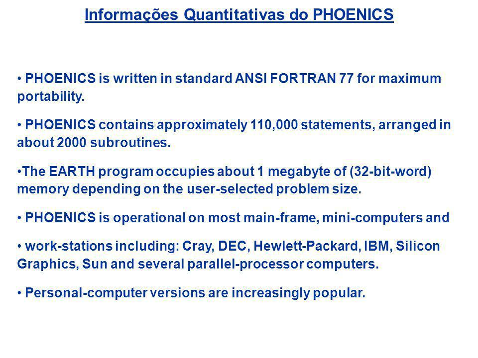 Informações Quantitativas do PHOENICS