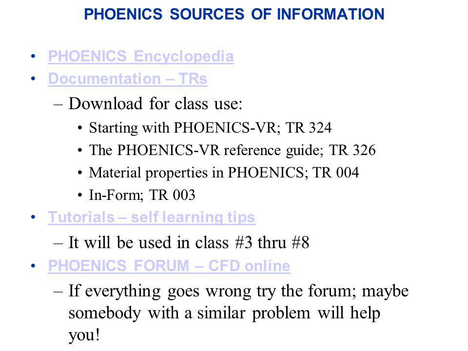 PHOENICS SOURCES OF INFORMATION