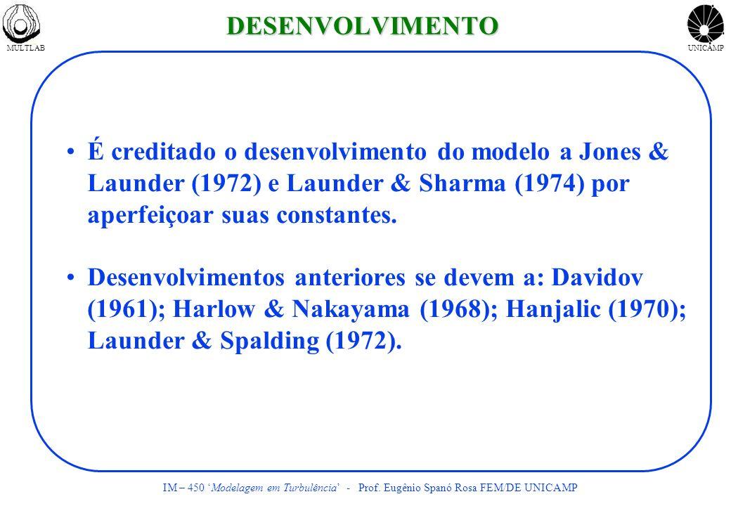 DESENVOLVIMENTO É creditado o desenvolvimento do modelo a Jones & Launder (1972) e Launder & Sharma (1974) por aperfeiçoar suas constantes.