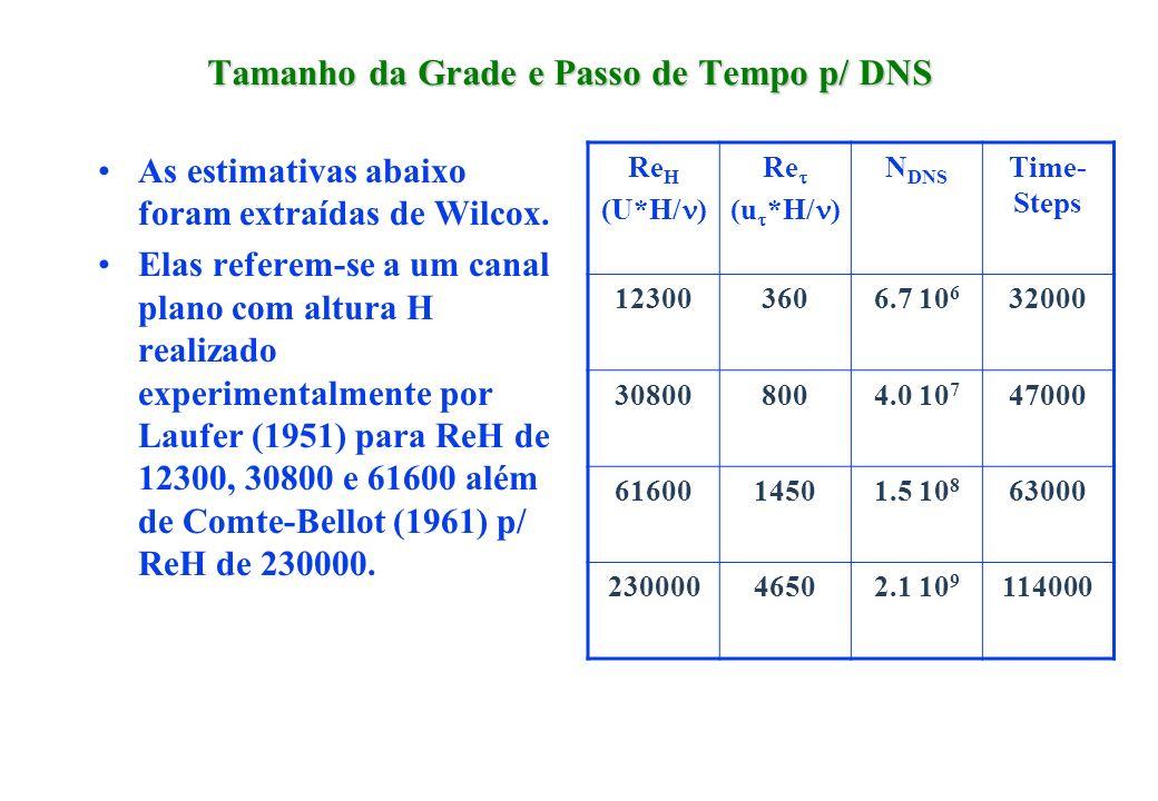 Tamanho da Grade e Passo de Tempo p/ DNS