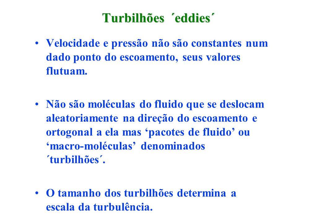 Turbilhões ´eddies´ Velocidade e pressão não são constantes num dado ponto do escoamento, seus valores flutuam.