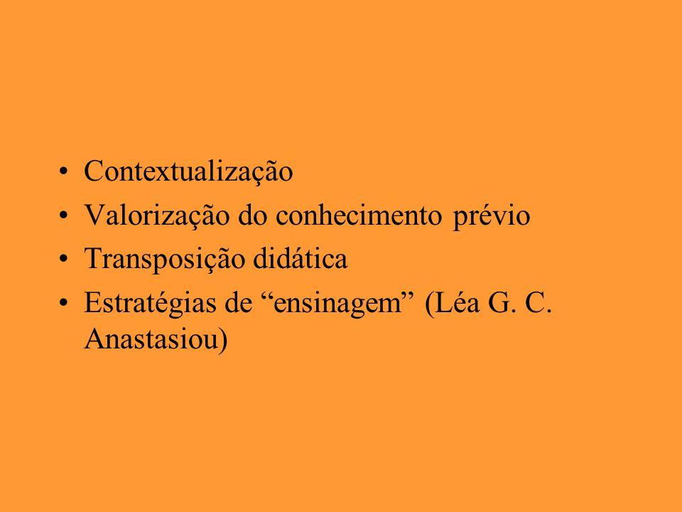 Contextualização Valorização do conhecimento prévio.