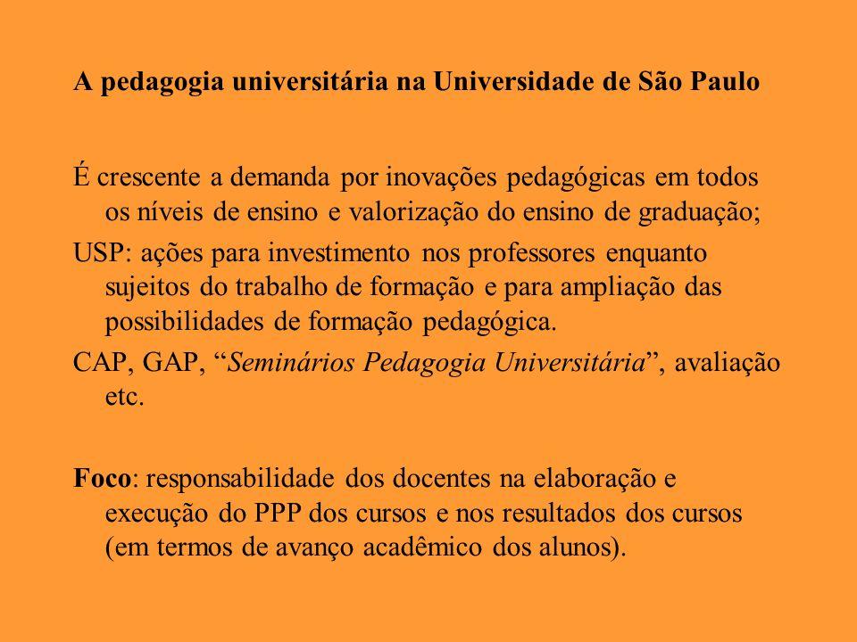 A pedagogia universitária na Universidade de São Paulo