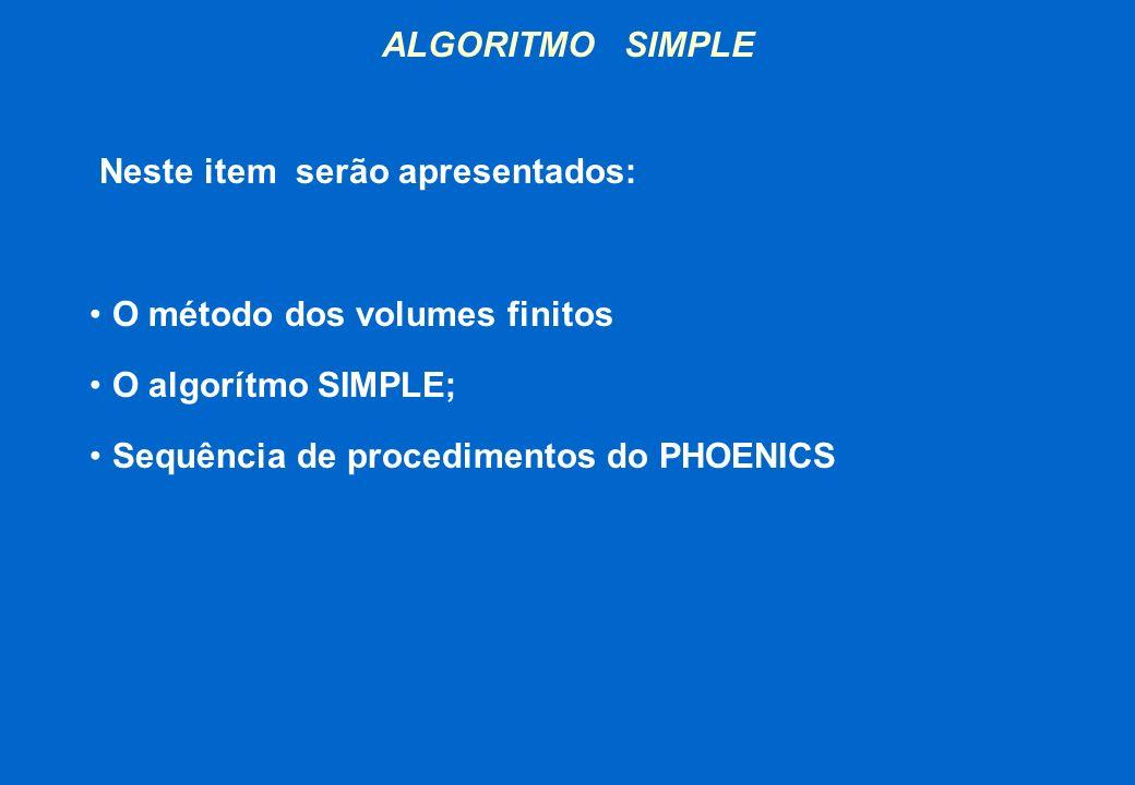 ALGORITMO SIMPLE Neste item serão apresentados: O método dos volumes finitos. O algorítmo SIMPLE;