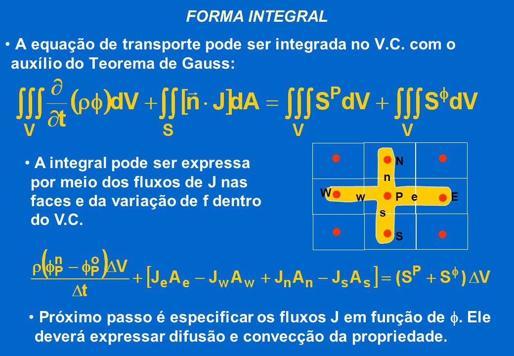 FORMA INTEGRAL A equação de transporte pode ser integrada no V.C. com o auxílio do Teorema de Gauss: