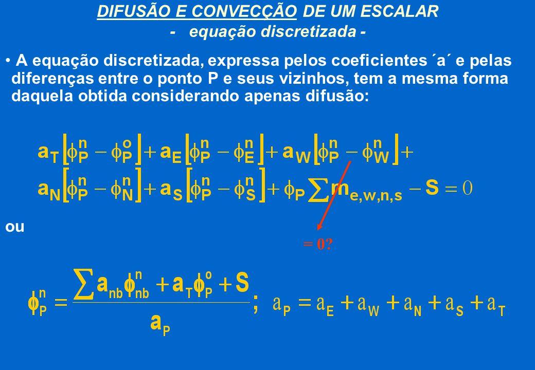 DIFUSÃO E CONVECÇÃO DE UM ESCALAR - equação discretizada -