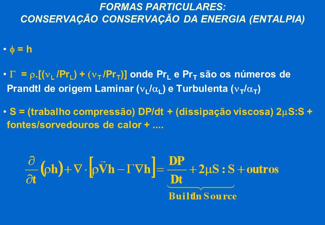 FORMAS PARTICULARES: CONSERVAÇÃO CONSERVAÇÃO DA ENERGIA (ENTALPIA)