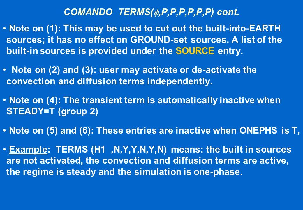 COMANDO TERMS(f,P,P,P,P,P,P) cont.