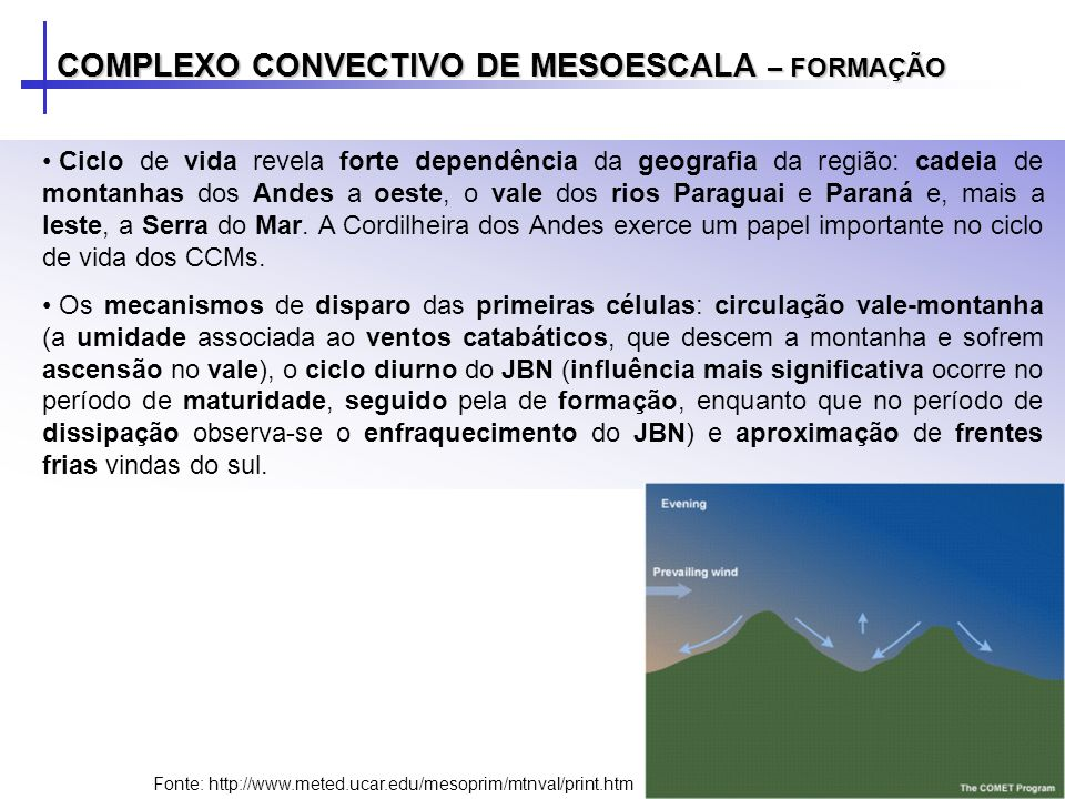 COMPLEXO CONVECTIVO DE MESOESCALA – FORMAÇÃO