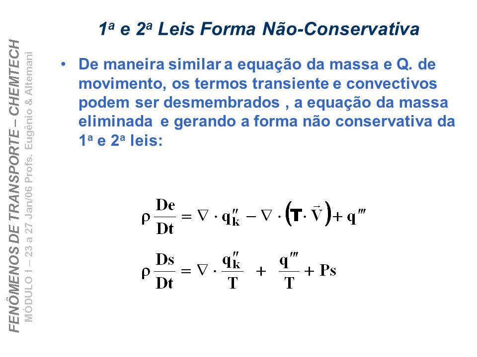 1a e 2a Leis Forma Não-Conservativa