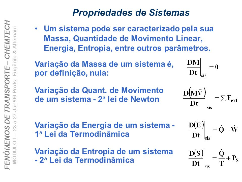 Propriedades de Sistemas