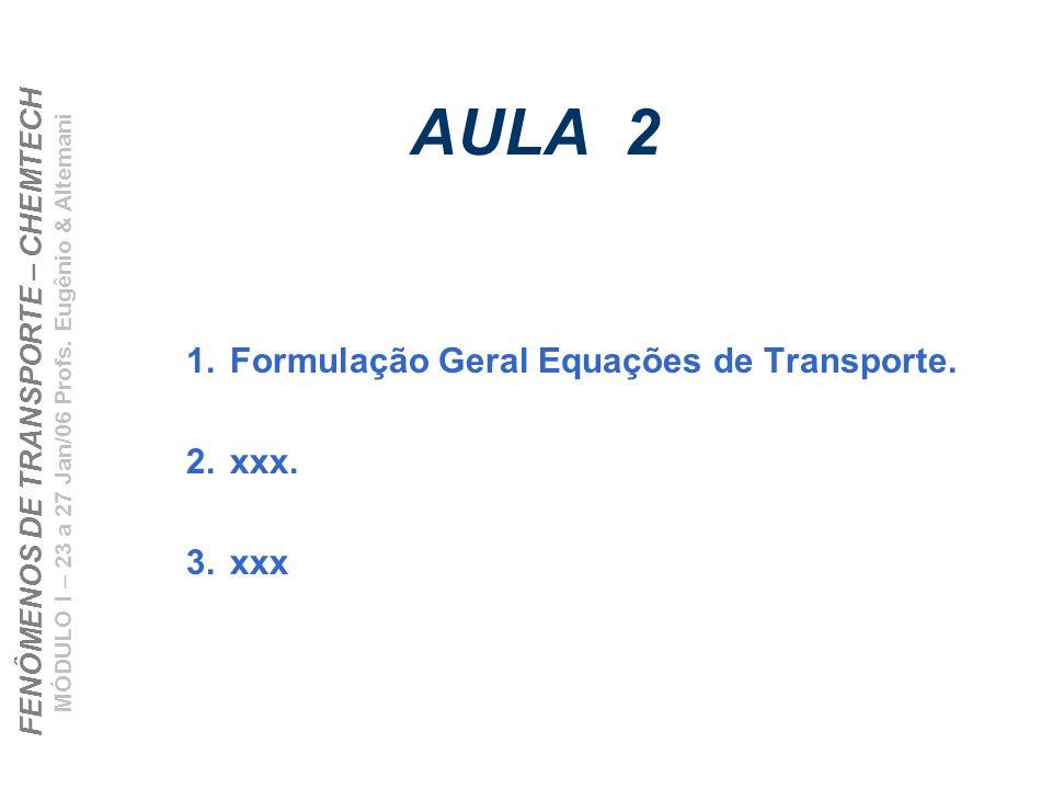 Formulação Geral Equações de Transporte. xxx. xxx