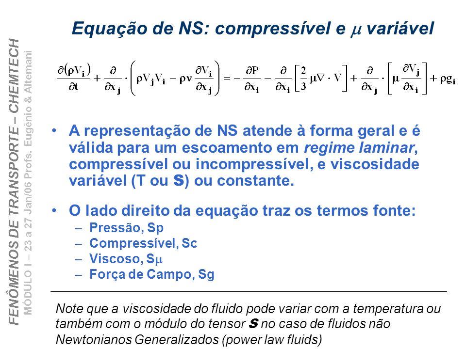 Equação de NS: compressível e m variável