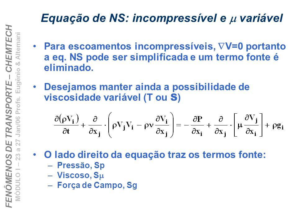 Equação de NS: incompressível e m variável