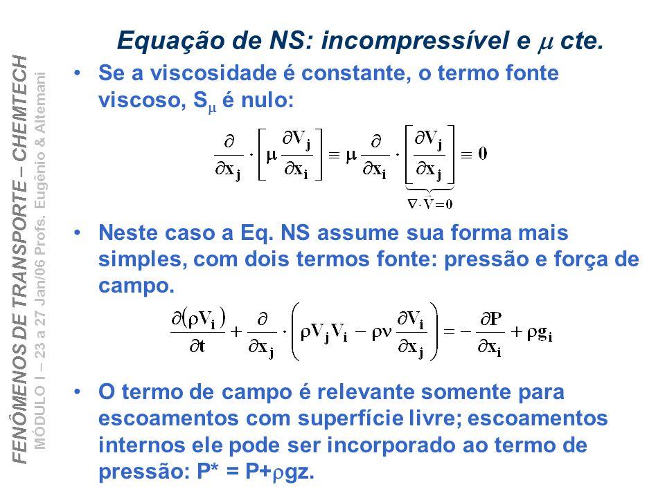 Equação de NS: incompressível e m cte.