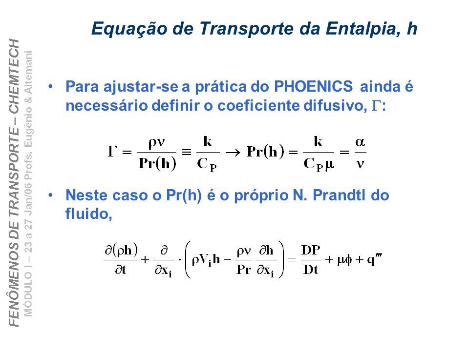 Equação de Transporte da Entalpia, h