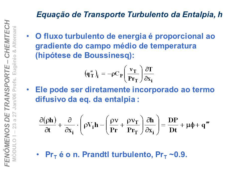 Equação de Transporte Turbulento da Entalpia, h