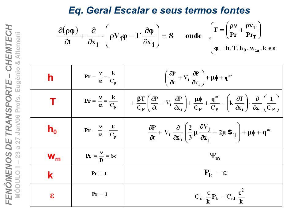 Eq. Geral Escalar e seus termos fontes