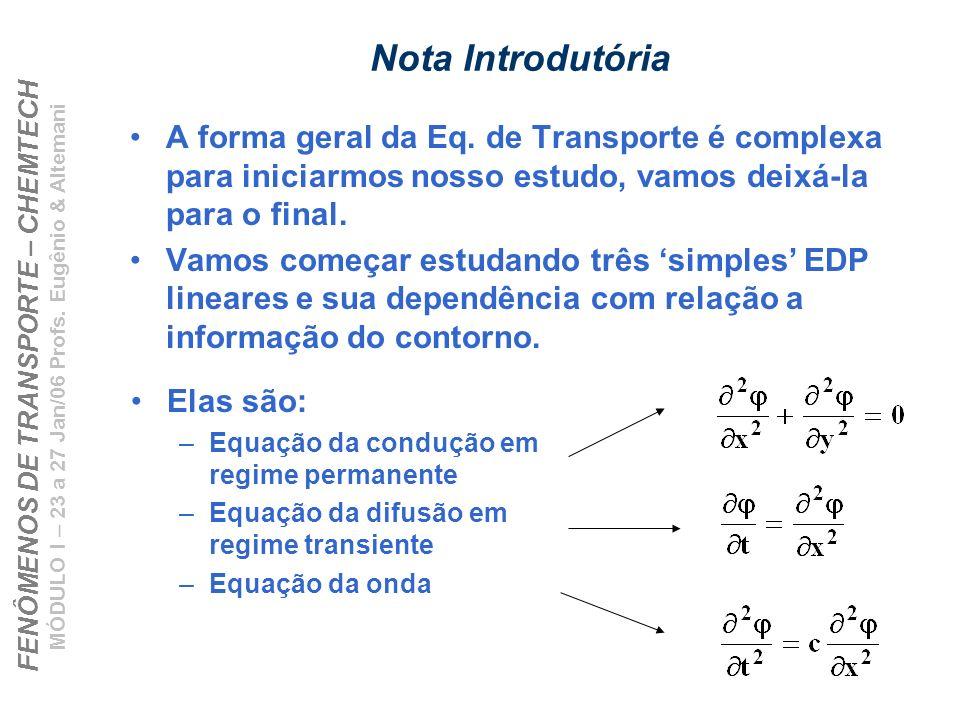 Nota Introdutória A forma geral da Eq. de Transporte é complexa para iniciarmos nosso estudo, vamos deixá-la para o final.