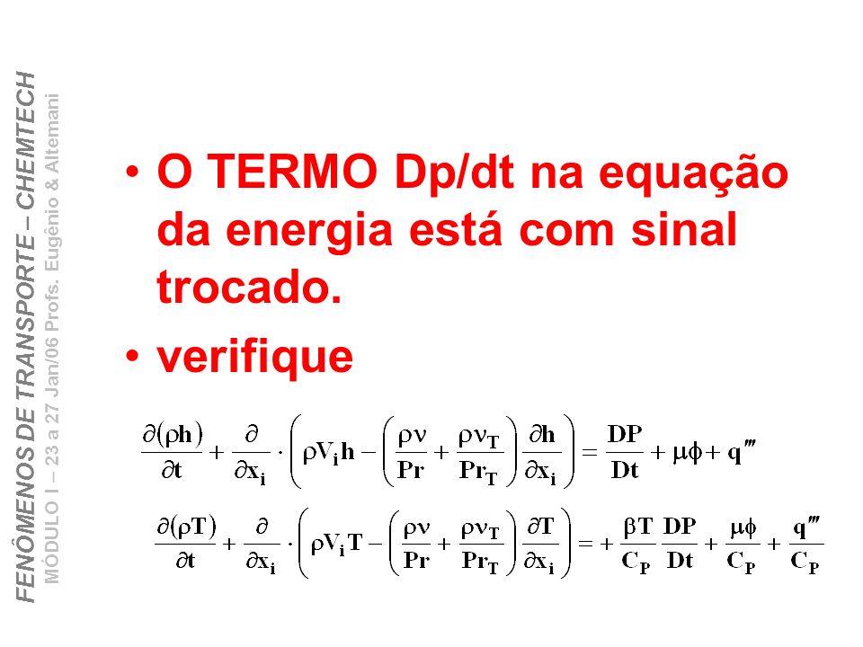 O TERMO Dp/dt na equação da energia está com sinal trocado.