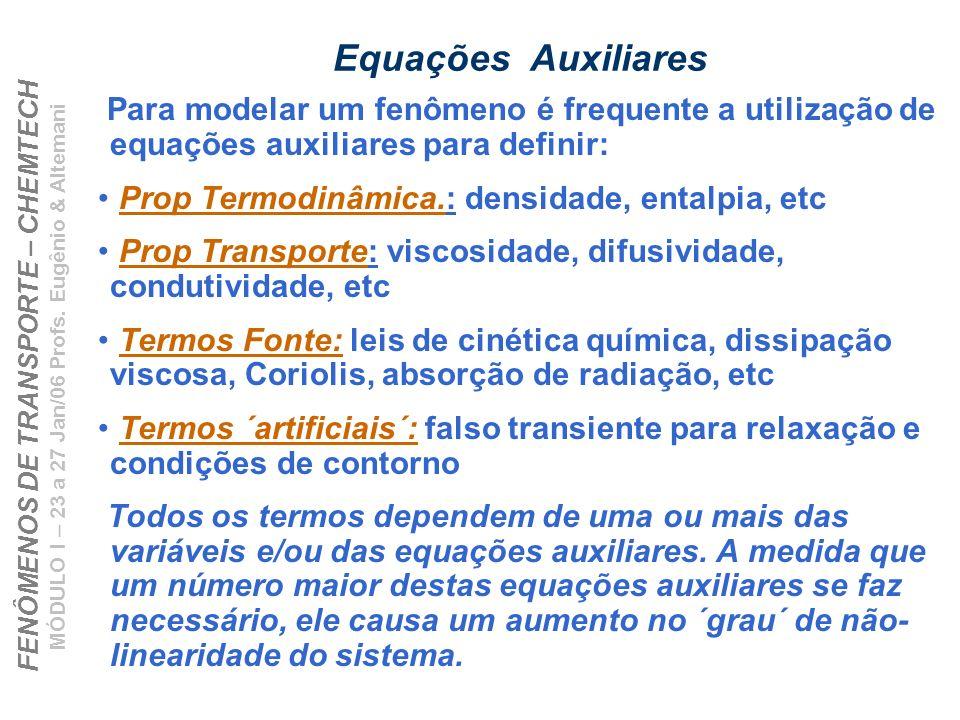 Equações Auxiliares Para modelar um fenômeno é frequente a utilização de equações auxiliares para definir: