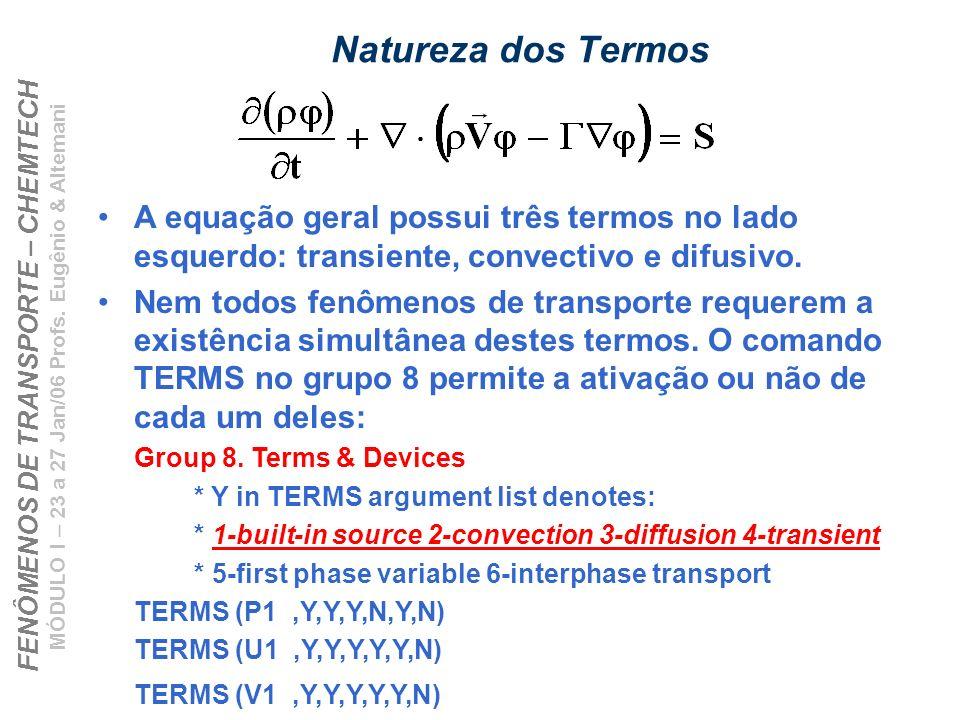 Natureza dos Termos A equação geral possui três termos no lado esquerdo: transiente, convectivo e difusivo.