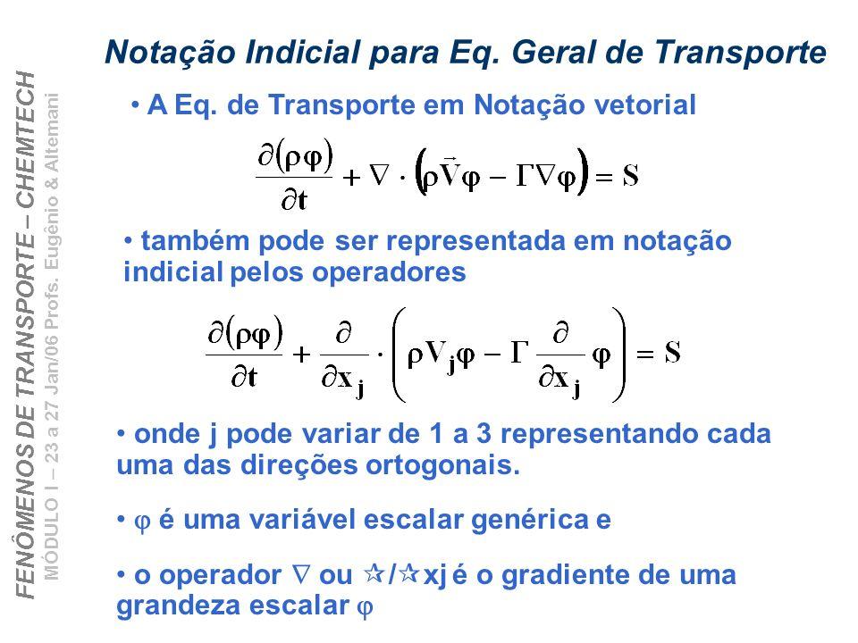 Notação Indicial para Eq. Geral de Transporte