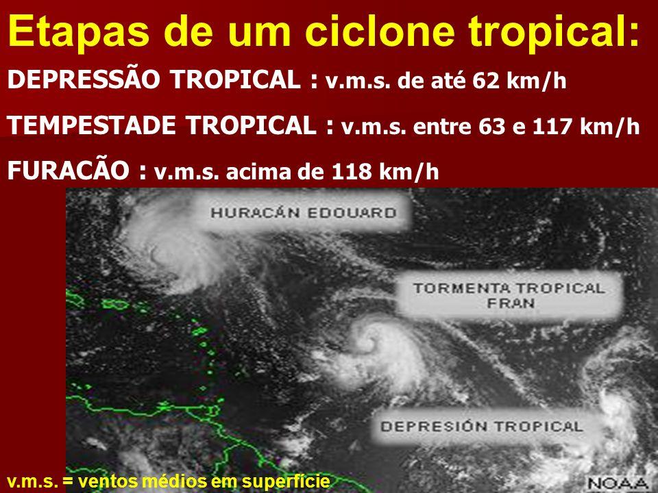 Etapas de um ciclone tropical: