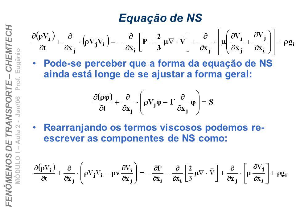 Equação de NSPode-se perceber que a forma da equação de NS ainda está longe de se ajustar a forma geral: