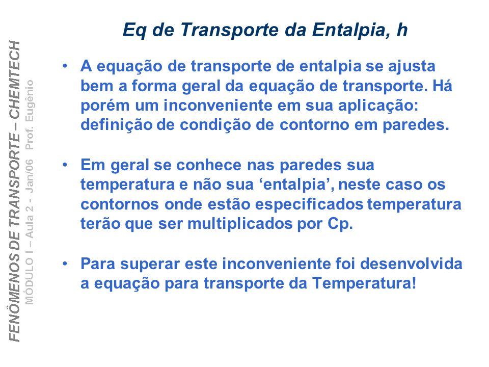 Eq de Transporte da Entalpia, h