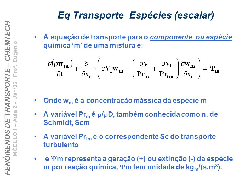 Eq Transporte Espécies (escalar)