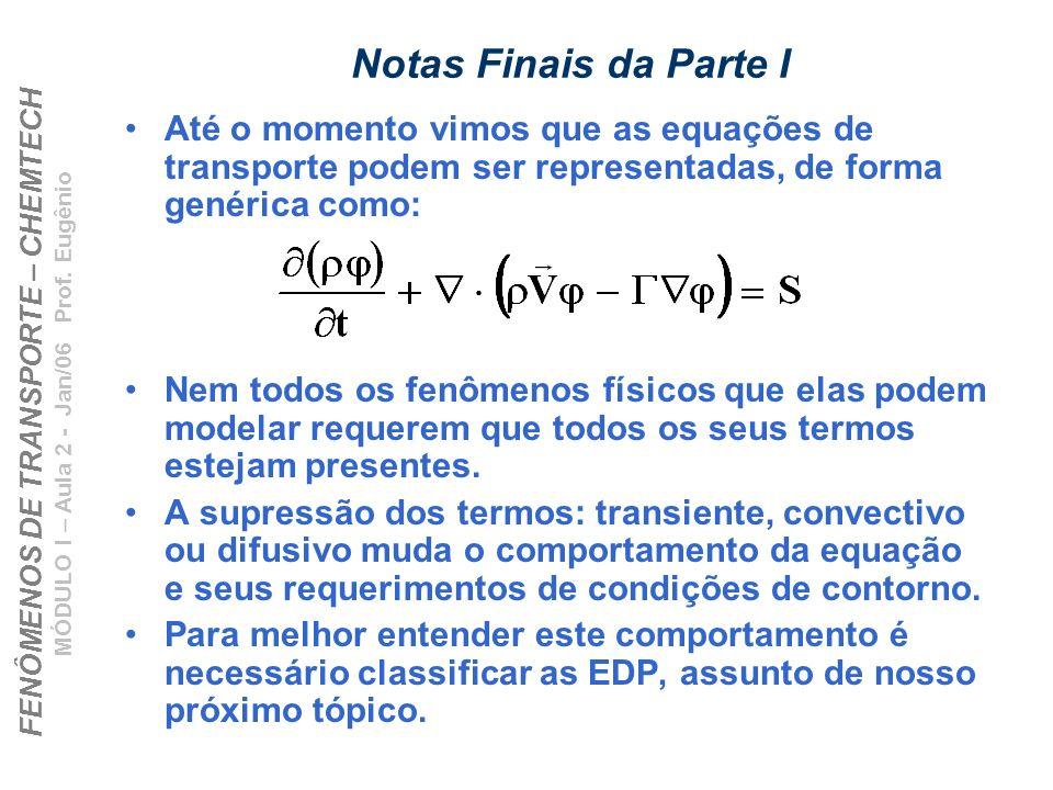 Notas Finais da Parte IAté o momento vimos que as equações de transporte podem ser representadas, de forma genérica como: