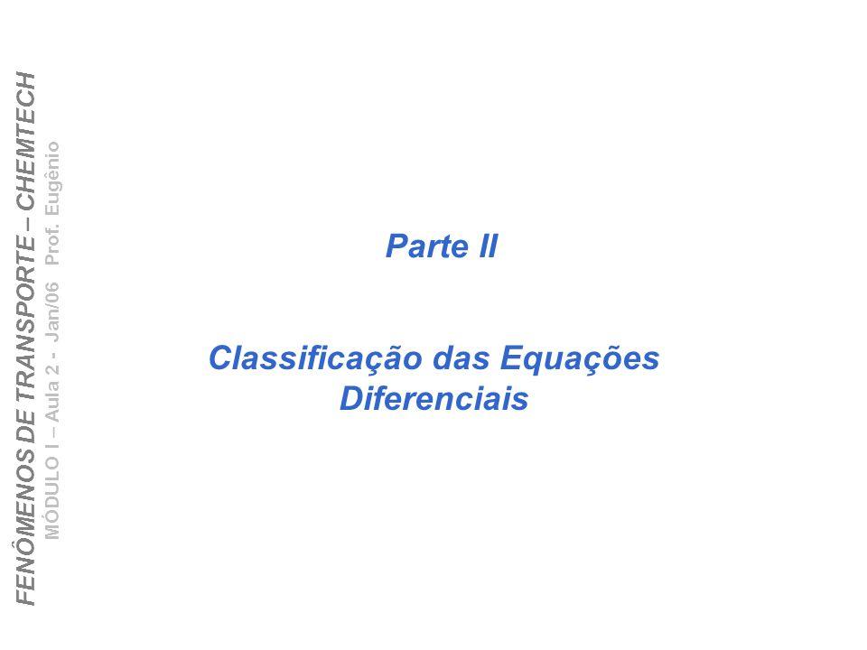 Classificação das Equações Diferenciais