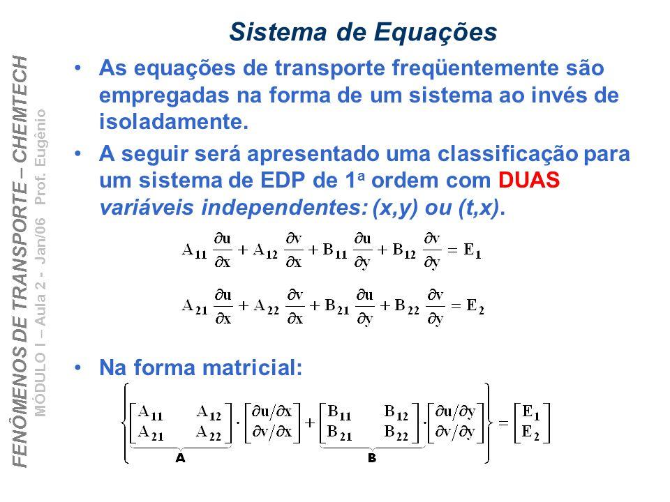 Sistema de Equações As equações de transporte freqüentemente são empregadas na forma de um sistema ao invés de isoladamente.