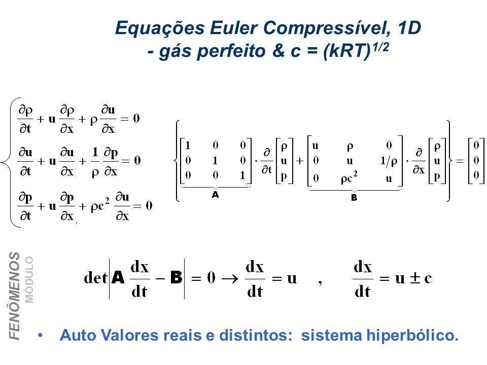 Equações Euler Compressível, 1D - gás perfeito & c = (kRT)1/2