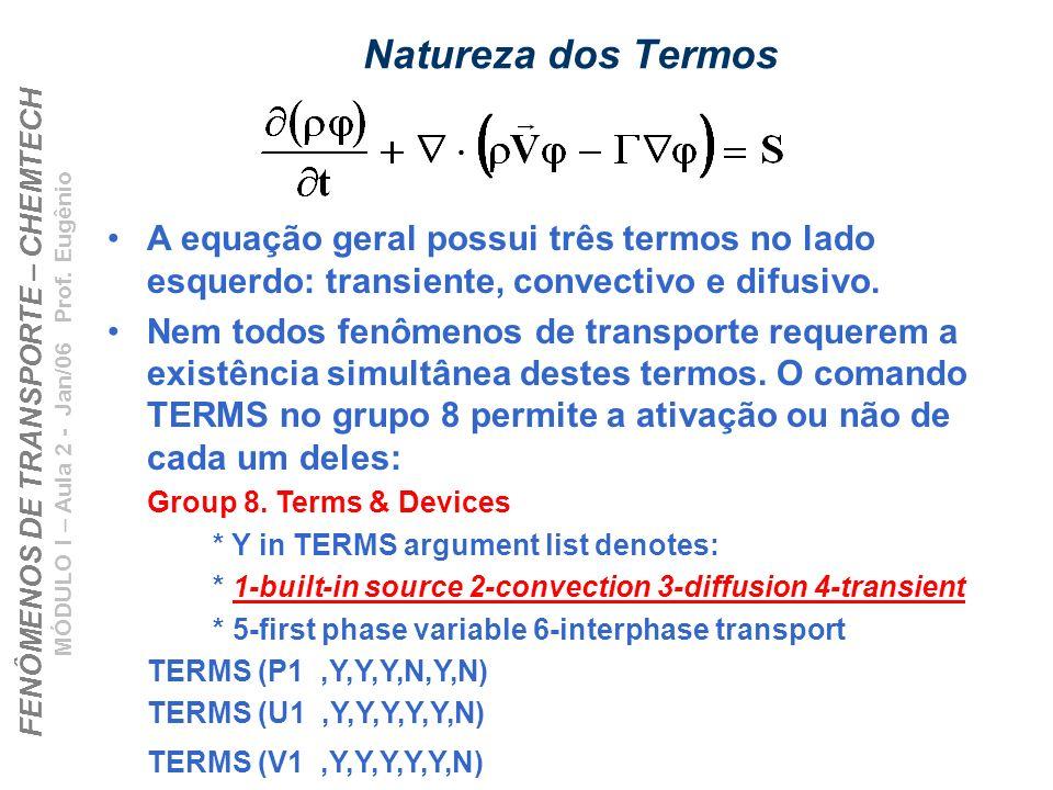 Natureza dos TermosA equação geral possui três termos no lado esquerdo: transiente, convectivo e difusivo.