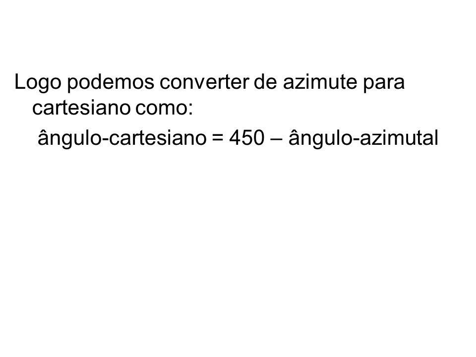 Logo podemos converter de azimute para cartesiano como: